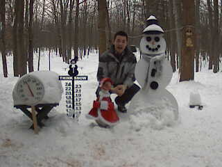 TV 9 & 10 and FOX 33 anchorman Ben Kwan reports on the Snowman Cam. December 13, 2007.