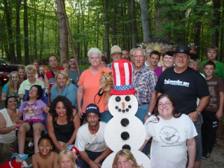 Some of the guests at this year's Snowman Cam Pizza Party.