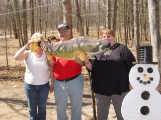 Becky C, RJG and LauraB with the fish