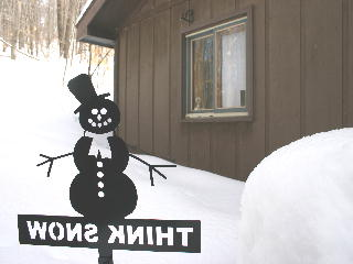 View of the webcam from behind the snowman looking  back at the house.