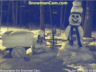 A coyote visits the Snowman. Thank you to Nancy Codere - Cumberland, Maine for sending it in. The coyote is just above the snow on the table.