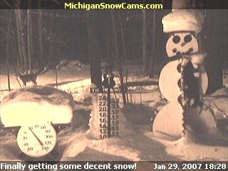 Deer walking by the snowman cam.