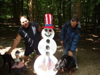 Dan Ream and James Burghorn from Muskegon, MI, with dogs Freedom and Jamie. 7-8-09