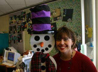 Ms Guccini with Snowman. Photo courtesy of Richard Guccini.