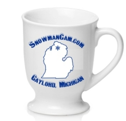 Set of four Snowman Cam coffee cups.