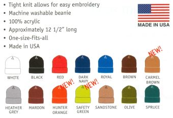 Snowman Cam cuffed knit watch hat color chart.